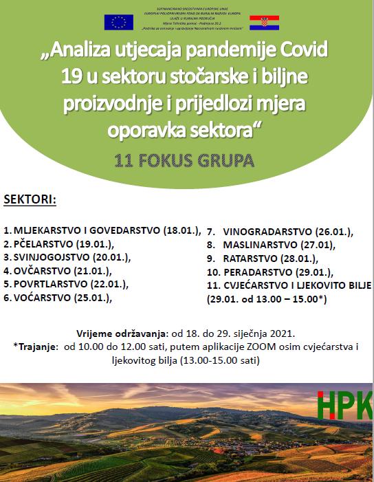 """""""Analiza utjecaja pandemije COVID 19 u sektoru stočarske i biljne proizvodnje i prijedlozi mjera oporavka sektora"""""""